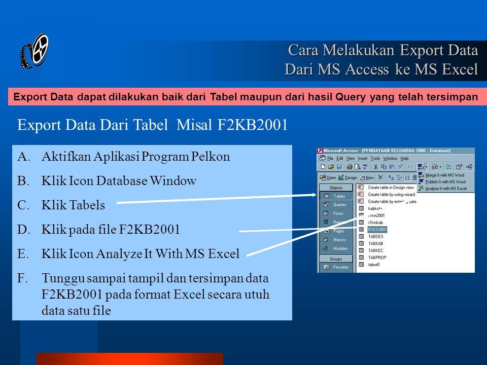 Cara Melakukan Export Data Dari MS Access ke MS Excel Export Data dapat dilakukan baik dari Tabel maupun dari hasil Query yang telah tersimpan Export