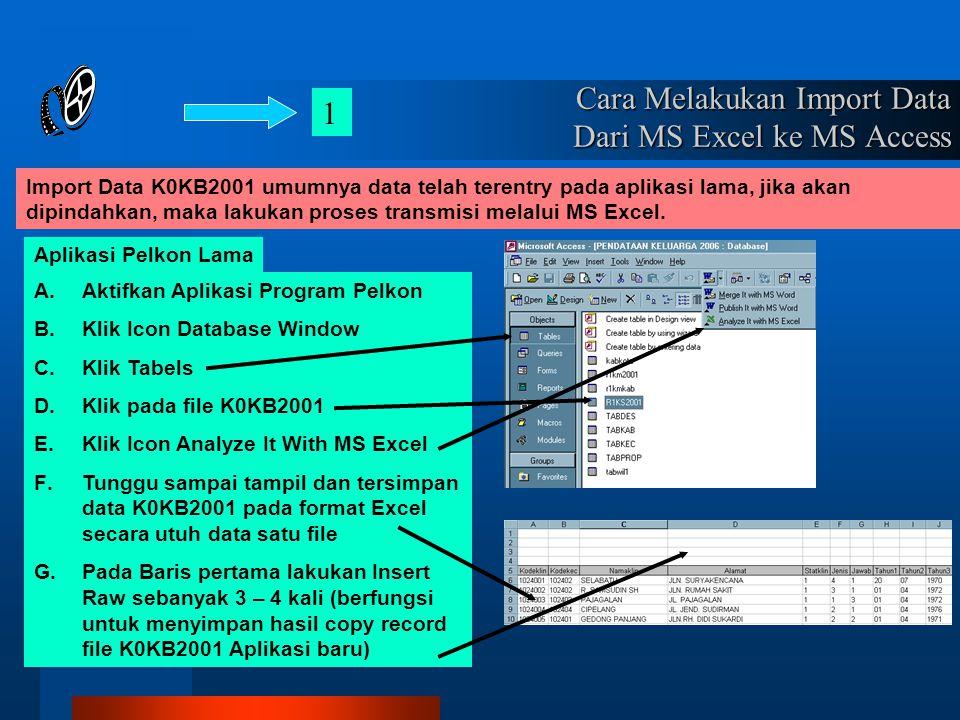 Cara Melakukan Import Data Dari MS Excel ke MS Access Import Data K0KB2001 umumnya data telah terentry pada aplikasi lama, jika akan dipindahkan, maka