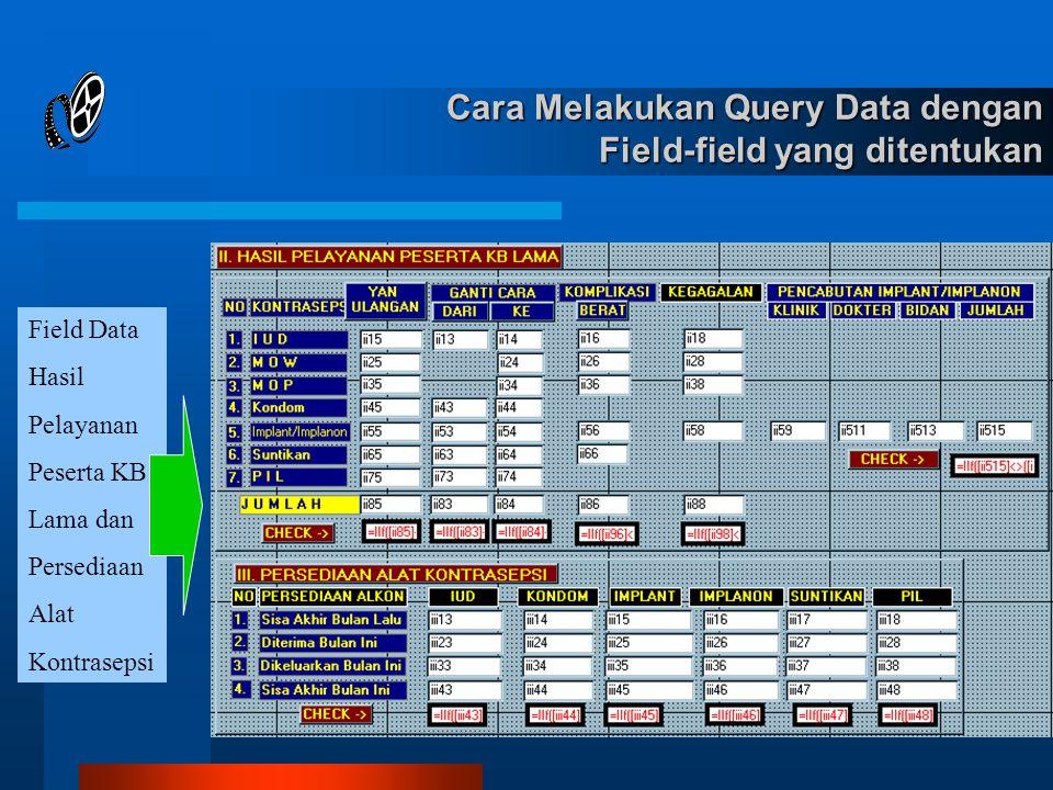 Cara Melakukan Query Data dengan Field-field yang ditentukan Field Data Hasil Pelayanan Peserta KB Lama dan Persediaan Alat Kontrasepsi