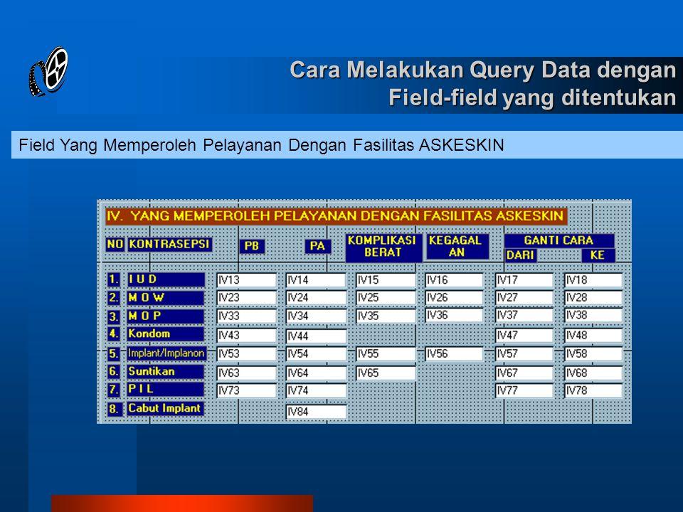 Field Yang Memperoleh Pelayanan Dengan Fasilitas ASKESKIN Cara Melakukan Query Data dengan Field-field yang ditentukan
