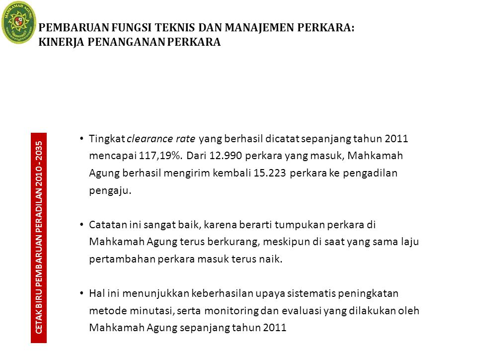 PEMBARUAN FUNGSI TEKNIS DAN MANAJEMEN PERKARA: KINERJA PENANGANAN PERKARA CETAK BIRU PEMBARUAN PERADILAN 2010 - 2035 Tingkat clearance rate yang berha