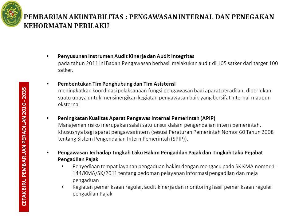 CETAK BIRU PEMBARUAN PERADILAN 2010 - 2035 Penyusunan Instrumen Audit Kinerja dan Audit Integritas pada tahun 2011 ini Badan Pengawasan berhasil melak