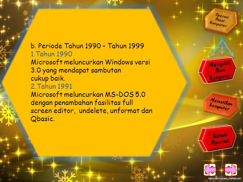 7. Tahun 1987 IBM memperkenalkan sistem operasi OS/2 yang telah berbasis grafis, sebagai calon pengganti IBM PC DOS. 8. Tahun 1988 Microsoft mengeluar