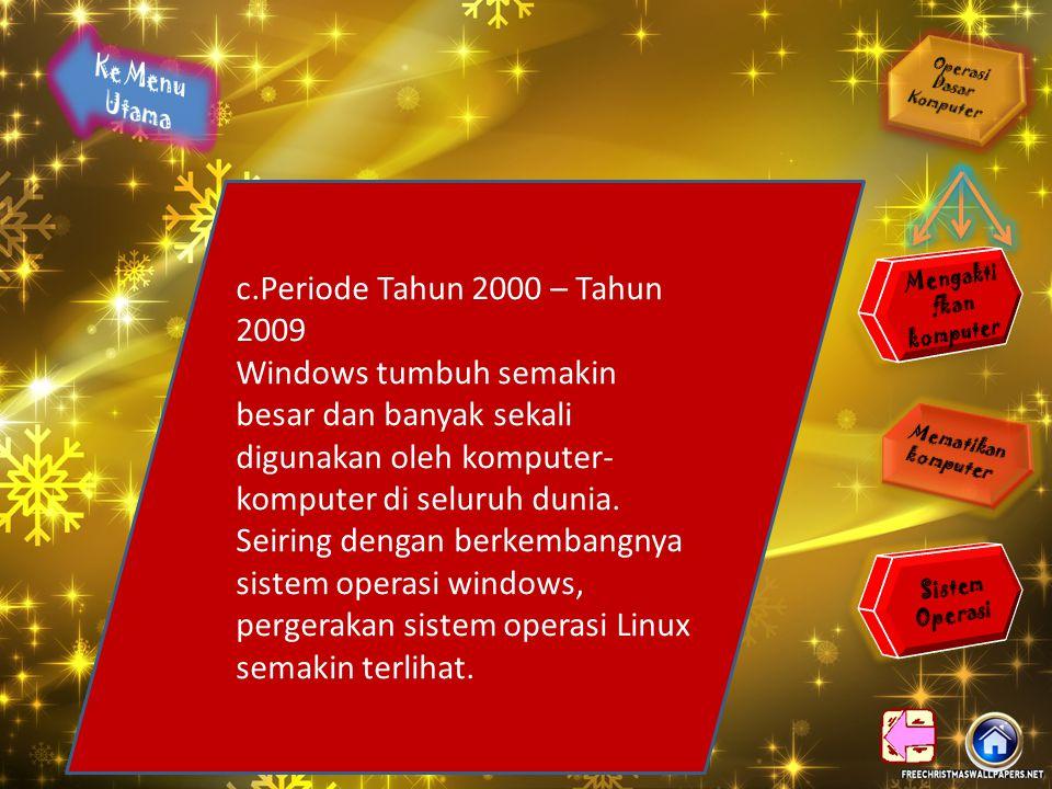 b. Periode Tahun 1990 – Tahun 1999 3.Tahun 1992 Linux didistribusikan dalam format distro yang merupakan gabungan dari sistem operasi ditambah program