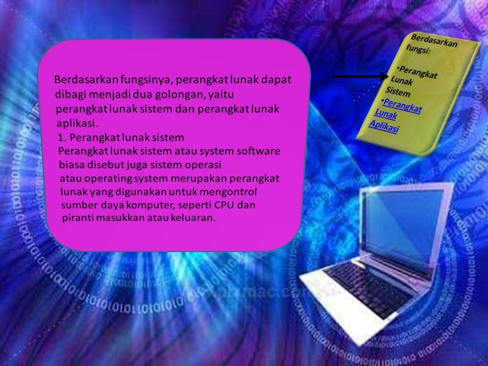 PERANGKAT LUNAK KOMPUTER Definisi dan Fungsi PenggunaanKlasifikasi Berdasarkan jenisnya  Komersial  Domain-publik  Shareware  Freeware  Rental Wa