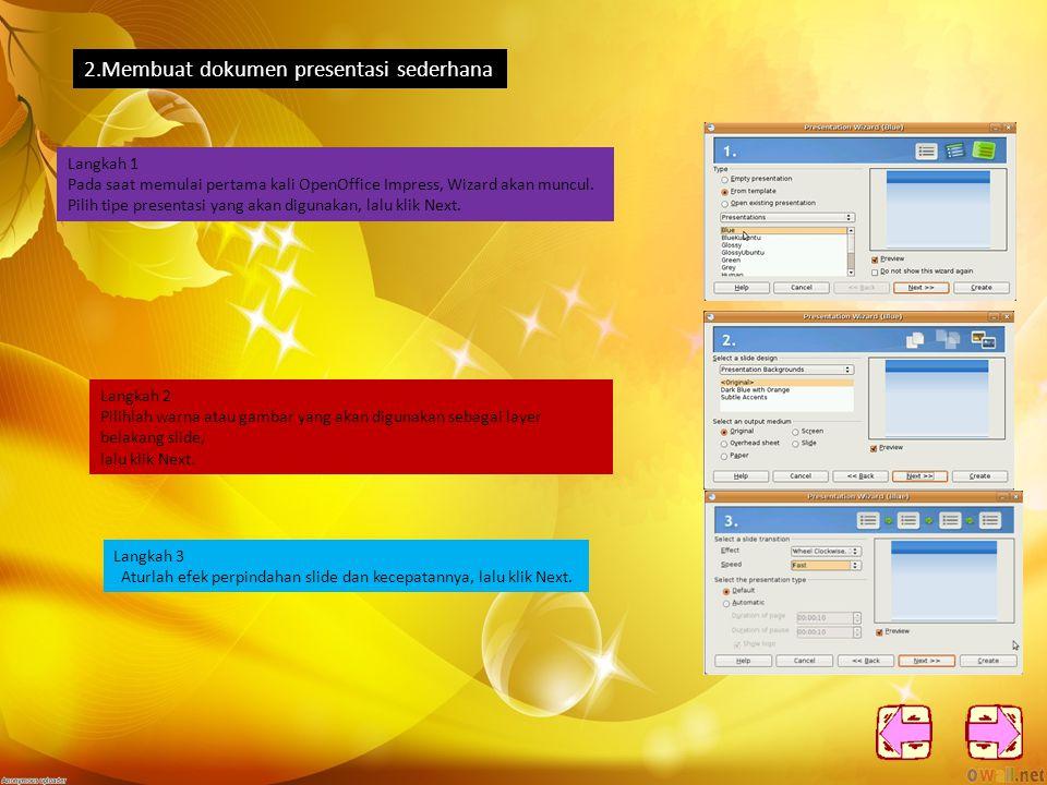 c.Wordspace Workspace memiliki 5 tab menu; Normal, Outline, Notes, Handout, dan Slide Order.