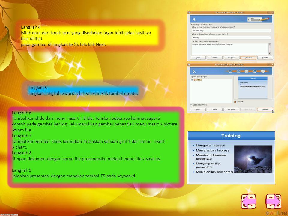 2.Membuat dokumen presentasi sederhana Langkah 1 Pada saat memulai pertama kali OpenOffice Impress, Wizard akan muncul.