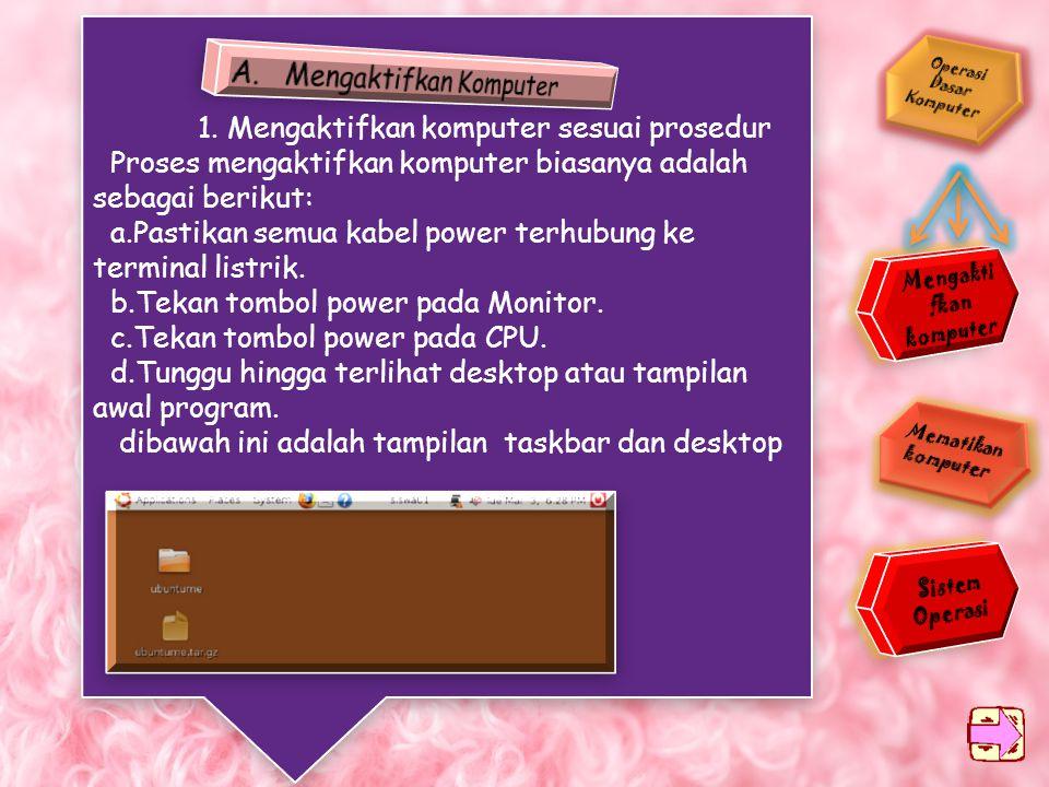 Operasi Dasar Komputer Mengaktif kan komputer Mengaktif kan komputer Mematikan komputer Mematikan komputer Sistem Operasi Sistem Operasi Peta Konsep