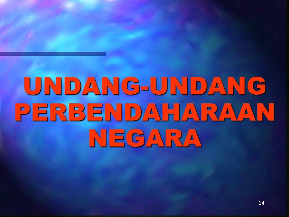 15 MENGATUR HUBUNGAN HUKUM ANTAR INSTITUSI DALAM LEMBAGA EKSEKUTIF DI BIDANG PELAKSANAAN UU APBN/PERDA APBD UNDANG-UNDANG PERBENDAHARAAN NEGARA