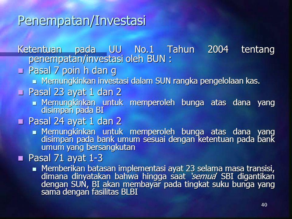 Penempatan/Investasi 41 Ketentuan Pada PP No.39 Tentang Pengelolaan Uang Negara/Daerah oleh BUN : Pasal 15 Pasal 15 Memungkinkan untuk membuka rekening di Bank Sentral untuk penempatan atas kelebihan dana pada RKUN.