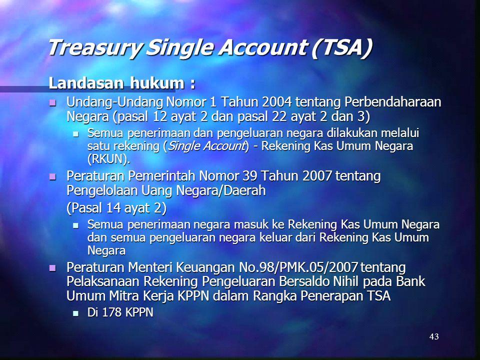 Prinsip-Prinsip TSA 44 Konsolidasi seluruh rekening pemerintah ke Rekening Kas Umum Negara (RKUN) di Bank Indonesia (BI) Konsolidasi seluruh rekening pemerintah ke Rekening Kas Umum Negara (RKUN) di Bank Indonesia (BI) Penerapan Zero-Balance atas rekening pemerintah yang berada di luar BI Penerapan Zero-Balance atas rekening pemerintah yang berada di luar BI Minimalisasi Cash Float dan Idle Cash Minimalisasi Cash Float dan Idle Cash