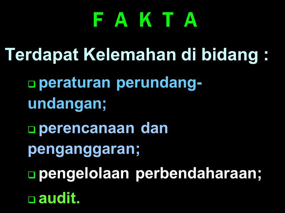 Belum memadainya perhatian terhadap fungsi perbendaharaan, Perubahan kedudukan Bank Indonesia Semakin meningkatnya utang Pemerintah F A K T A