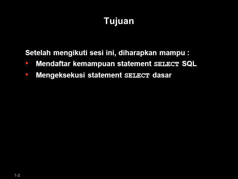 1-2 Tujuan Setelah mengikuti sesi ini, diharapkan mampu : Mendaftar kemampuan statement SELECT SQL Mengeksekusi statement SELECT dasar