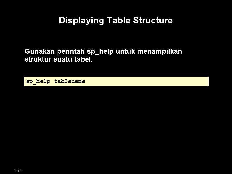 1-24 Displaying Table Structure Gunakan perintah sp_help untuk menampilkan struktur suatu tabel.