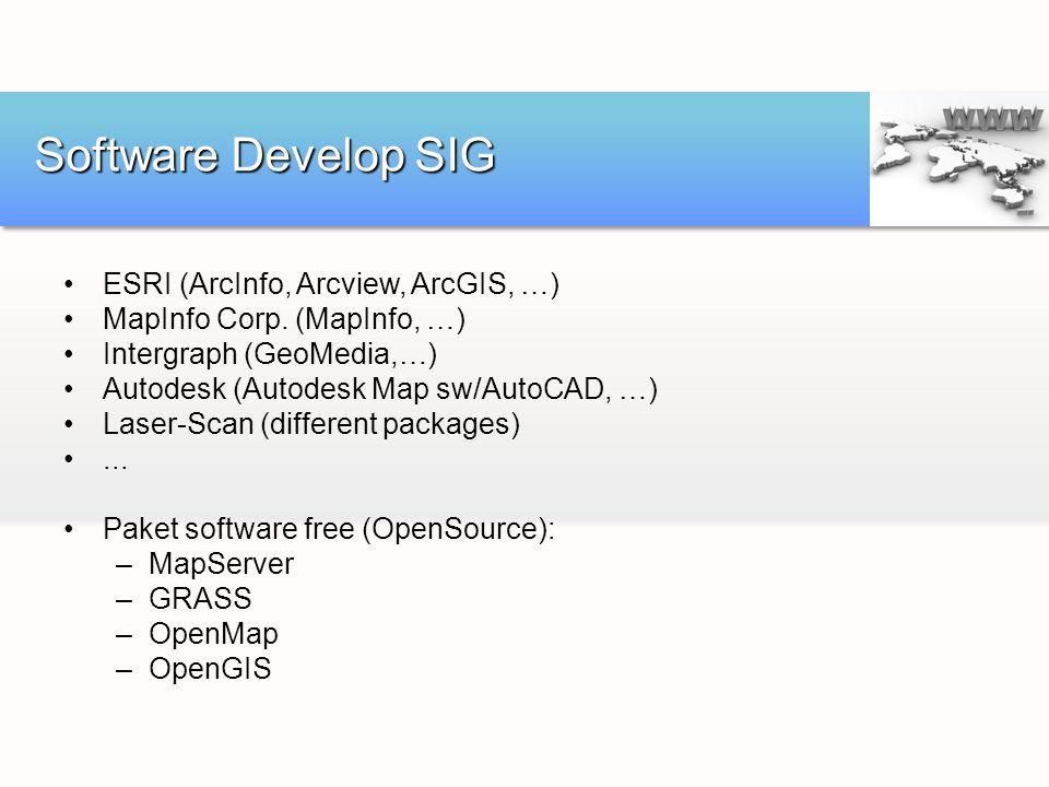 ESRI (ArcInfo, Arcview, ArcGIS, …) MapInfo Corp. (MapInfo, …) Intergraph (GeoMedia,…) Autodesk (Autodesk Map sw/AutoCAD, …) Laser-Scan (different pack