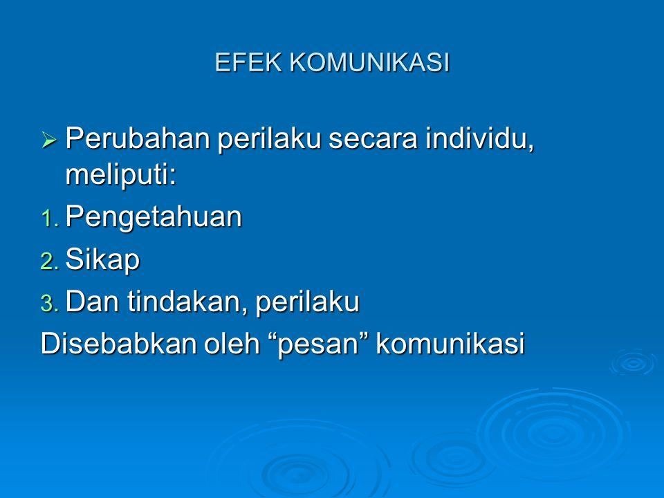 EFEK KOMUNIKASI  Perubahan perilaku secara individu, meliputi: 1.