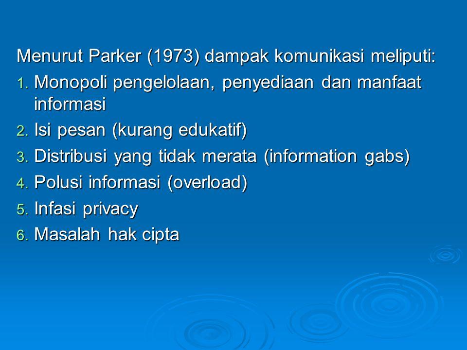 Menurut Parker (1973) dampak komunikasi meliputi: 1. Monopoli pengelolaan, penyediaan dan manfaat informasi 2. Isi pesan (kurang edukatif) 3. Distribu
