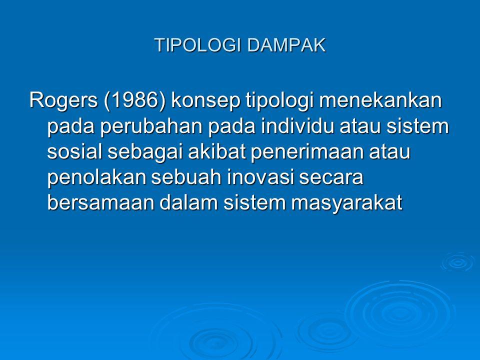 TIPOLOGI DAMPAK Rogers (1986) konsep tipologi menekankan pada perubahan pada individu atau sistem sosial sebagai akibat penerimaan atau penolakan sebu