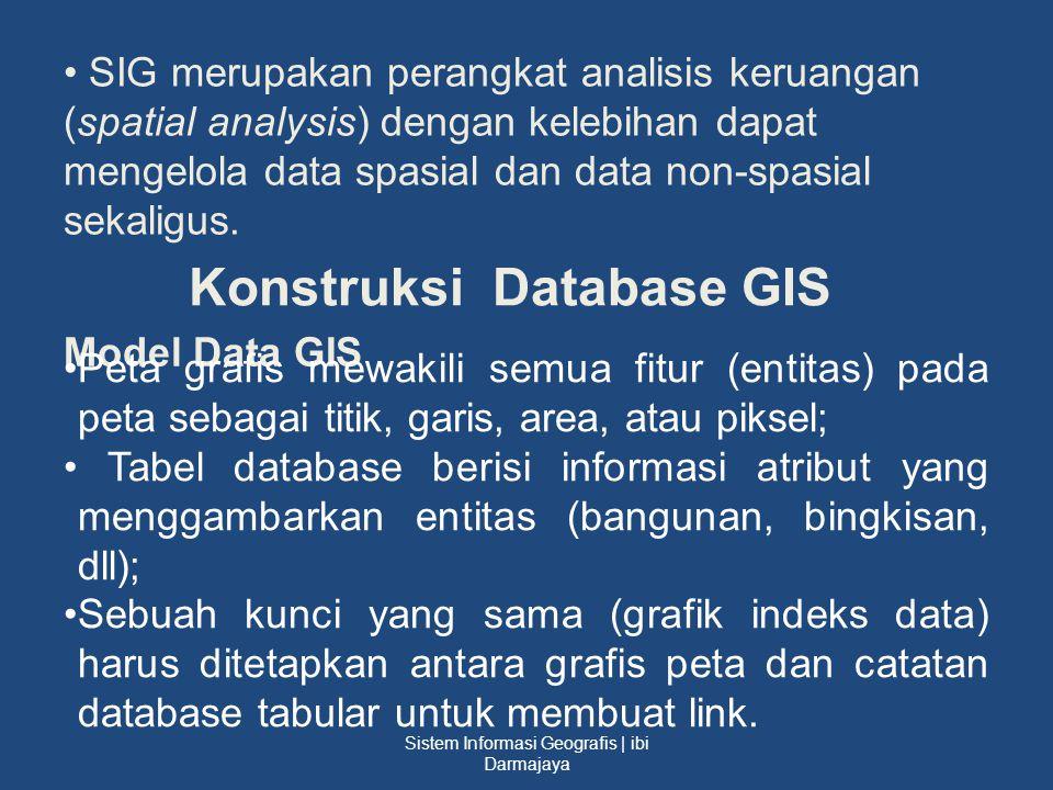 SIG merupakan perangkat analisis keruangan (spatial analysis) dengan kelebihan dapat mengelola data spasial dan data non-spasial sekaligus. Konstruksi
