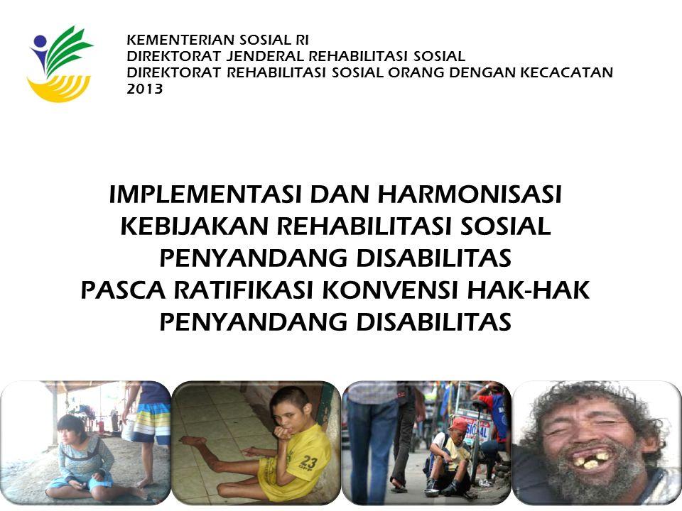 KONSEKUENSI RATIFIKASI KONVENSI 1.Pergeseran Paradigma Penanganan Disabilitas Implemen tasi Hak 1.Medical Model 2.Charity 3.Perlindungan 4.Center Based 5.Insidental (by case) 6.Sektoral 7.Reaktif 1.Social Model 2.Pemenuhan Hak 3.Rehabilitasi, Pemberdayaan, Perlidungan 4.Community Based 5.Integrasi & Holistik 6.Lintas Sektor, Lintas Program, Lintas Profesi, Lintas Disiplin Ilmu 7.Antisipatif dan Partisipati DISABILITY INCLUSION -> PENCAPAIAN KESEJAHTERAAN