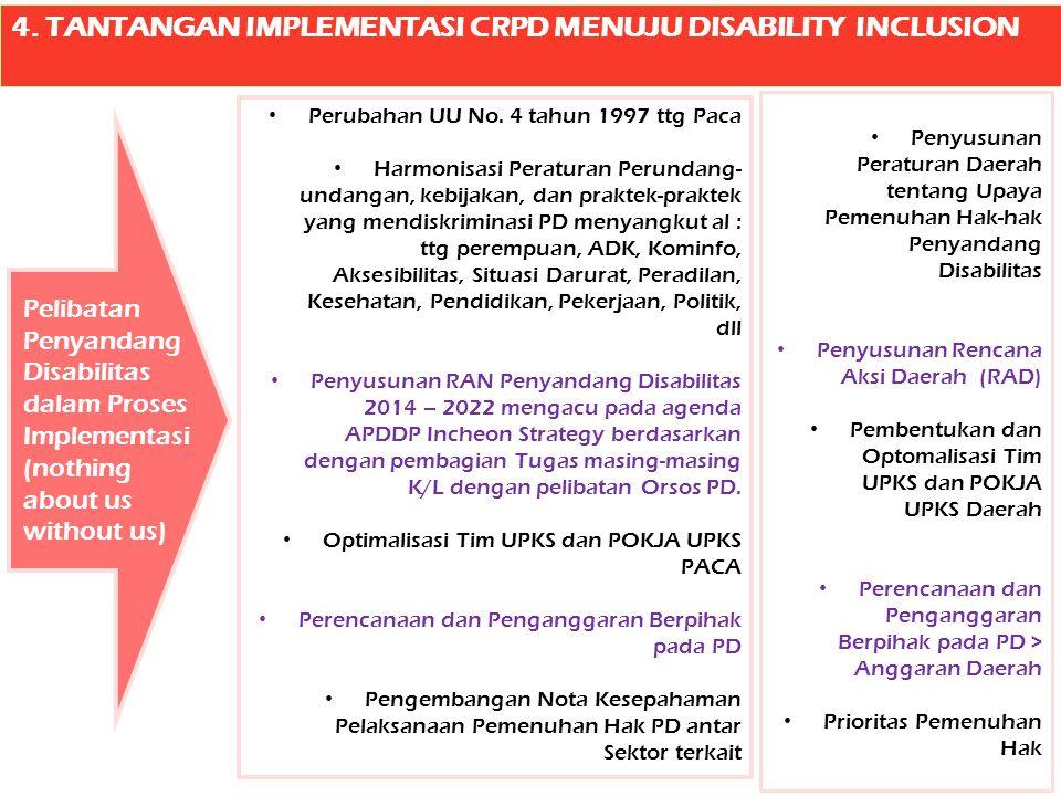 4. TANTANGAN IMPLEMENTASI CRPD MENUJU DISABILITY INCLUSION Perubahan UU No. 4 tahun 1997 ttg Paca Harmonisasi Peraturan Perundang- undangan, kebijakan