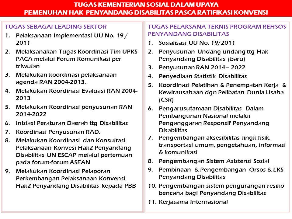 TUGAS KEMENTERIAN SOSIAL DALAM UPAYA PEMENUHAN HAK PENYANDANG DISABILITAS PASCA RATIFIKASI KONVENSI TUGAS SEBAGAI LEADING SEKTOR 1.Pelaksanaan Impleme