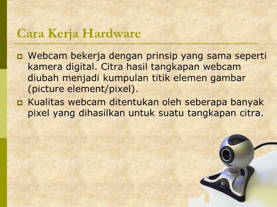 Cara Kerja Hardware  Webcam bekerja dengan prinsip yang sama seperti kamera digital. Citra hasil tangkapan webcam diubah menjadi kumpulan titik eleme