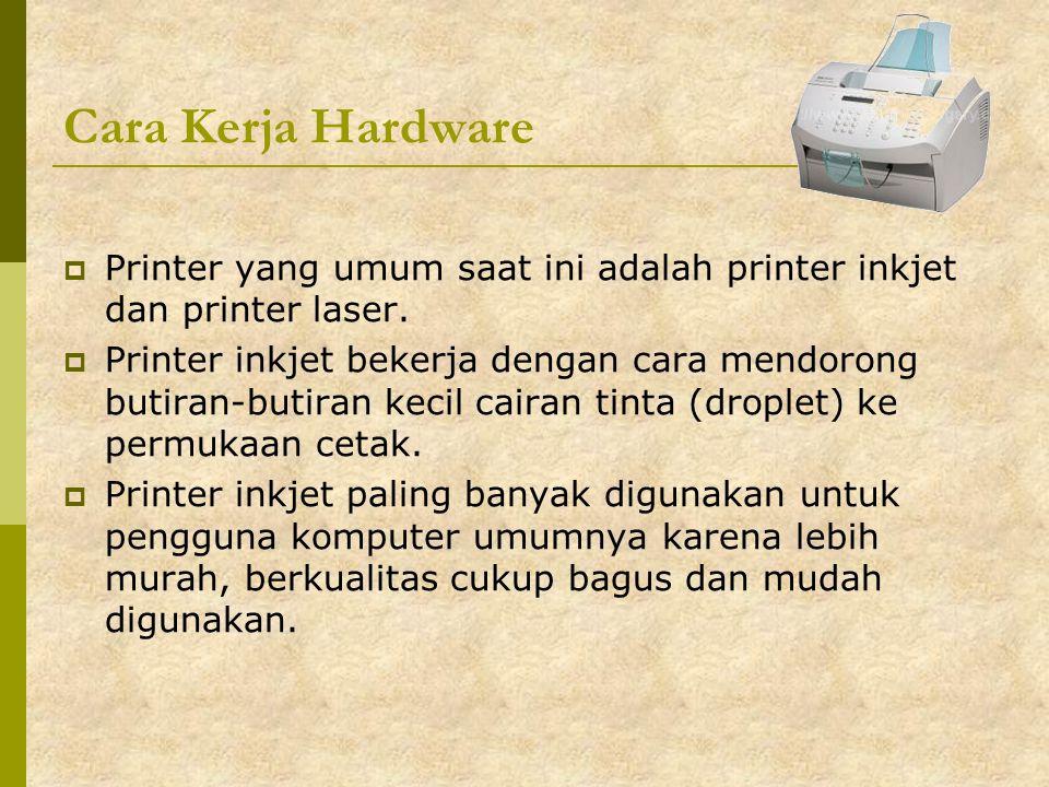 Cara Kerja Hardware  Printer yang umum saat ini adalah printer inkjet dan printer laser.  Printer inkjet bekerja dengan cara mendorong butiran-butir