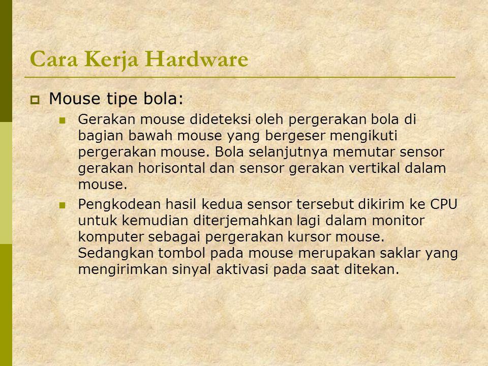 Cara Kerja Hardware  Mouse tipe bola: Gerakan mouse dideteksi oleh pergerakan bola di bagian bawah mouse yang bergeser mengikuti pergerakan mouse. Bo