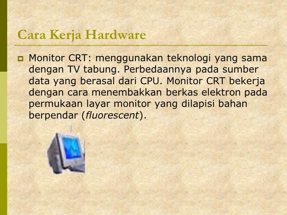 Cara Kerja Hardware  Monitor CRT: menggunakan teknologi yang sama dengan TV tabung. Perbedaannya pada sumber data yang berasal dari CPU. Monitor CRT