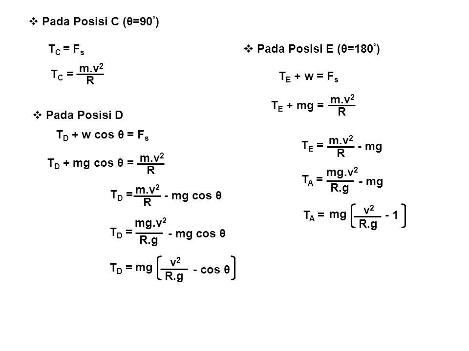  Pada Posisi C (θ=90 ° )  Pada Posisi D  Pada Posisi E (θ=180 ° )T C = F s T C = m.v 2 R T D + w cos θ = F s T D + mg cos θ = m.v 2 R T D = m.v 2 R