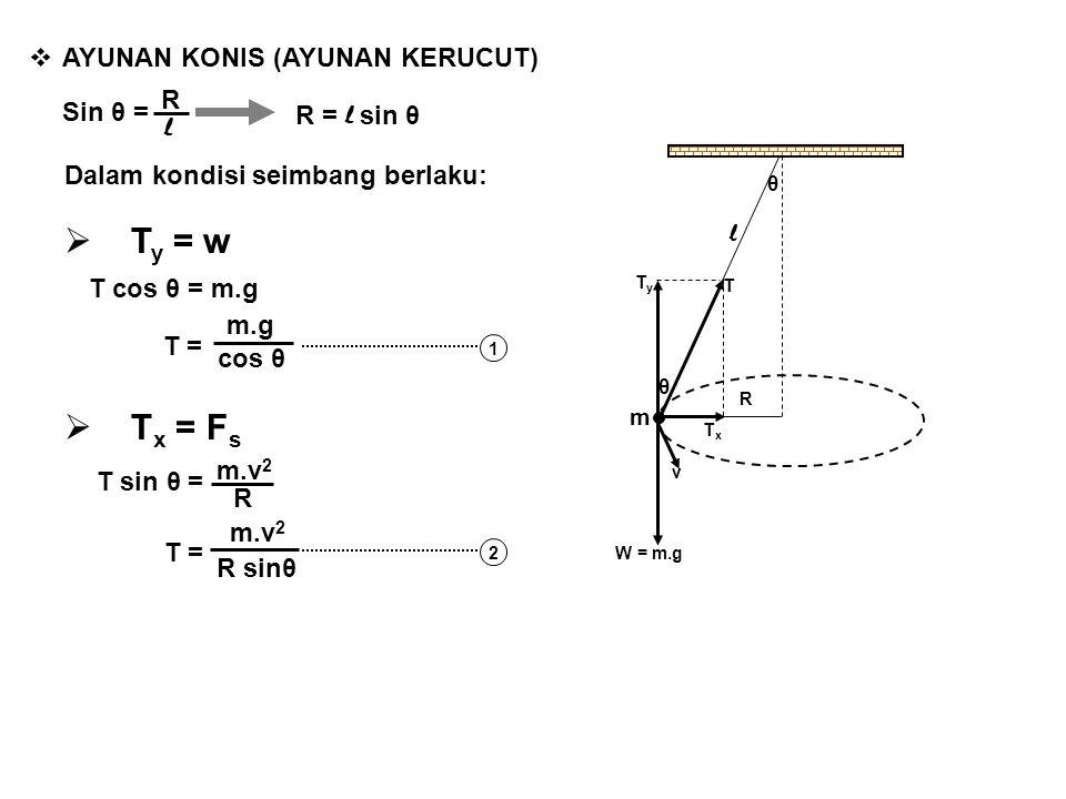  AYUNAN KONIS (AYUNAN KERUCUT) θ R TxTx TyTy l m T θ W = m.g v Sin θ = R l R = l sin θ Dalam kondisi seimbang berlaku:  T y = w  T x = F s T cos θ
