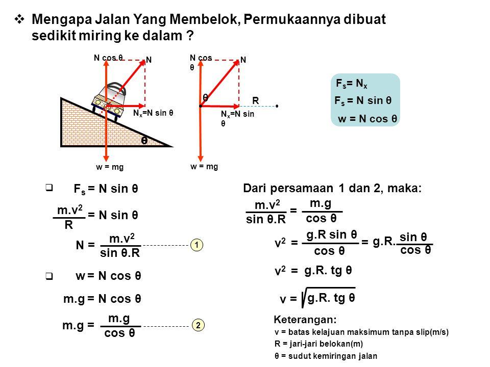  Mengapa Jalan Yang Membelok, Permukaannya dibuat sedikit miring ke dalam ? θ w = mg N x =N sin θ N cos θ N θ N N x =N sin θ w = mg R F s = N x F s =