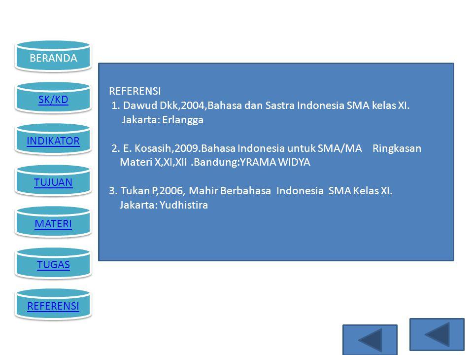 BERANDA SK/KD INDIKATOR TUJUAN MATERI TUGAS REFERENSI 1. Dawud Dkk,2004,Bahasa dan Sastra Indonesia SMA kelas XI. Jakarta: Erlangga 2. E. Kosasih,2009