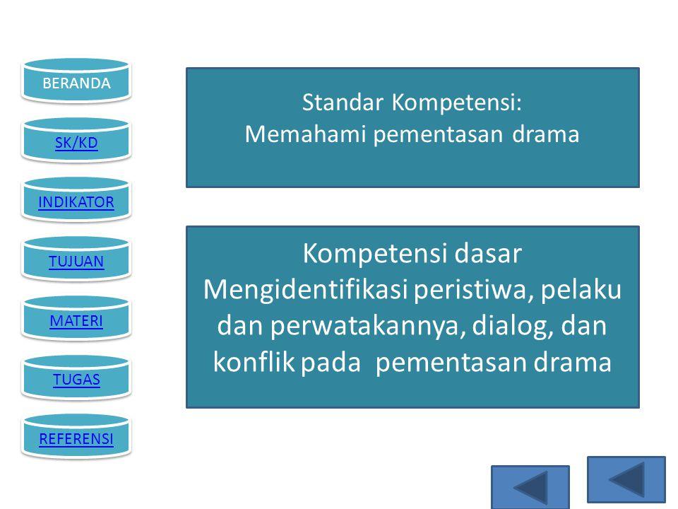 BERANDA SK/KD INDIKATOR TUJUAN MATERI TUGAS REFERENSI Standar Kompetensi: Memahami pementasan drama Kompetensi dasar Mengidentifikasi peristiwa, pelak