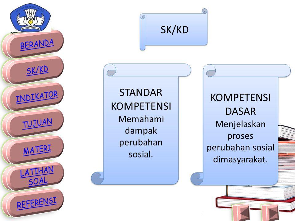 SK/KD STANDAR KOMPETENSI Memahami dampak perubahan sosial.