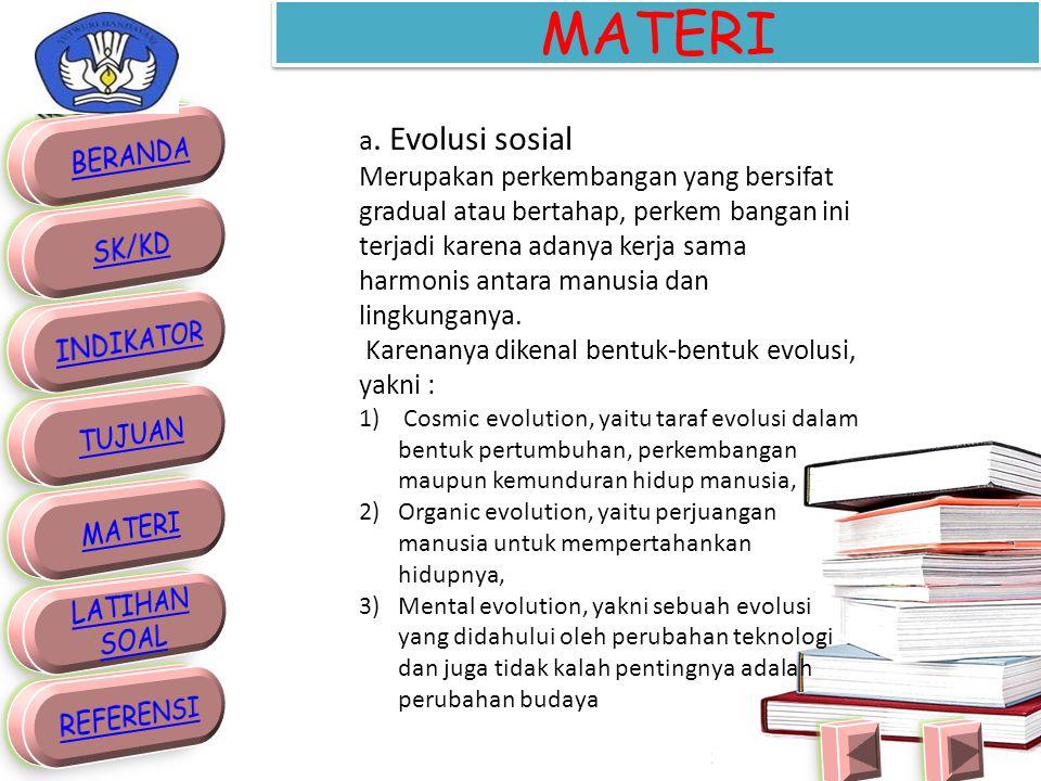 2. BENTUK PERUBAHAN SOSIAL a.Evolusi sosial b.Revolusi sosial c.Perubahan sosial kecil d.Perubahan sosial besar. e.Perubahan sosial yang direncanakan