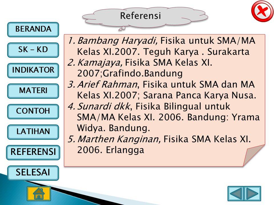BERANDA SK - KD INDIKATOR MATERI CONTOH LATIHAN REFERENSI SELESAI Referensi 1.Bambang Haryadi, Fisika untuk SMA/MA Kelas XI.2007. Teguh Karya. Surakar