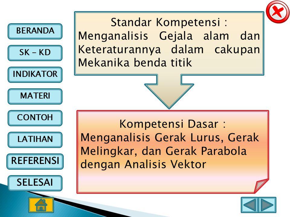 BERANDA SK - KD INDIKATOR MATERI CONTOH LATIHAN REFERENSI SELESAI Kompetensi Dasar : Menganalisis Gerak Lurus, Gerak Melingkar, dan Gerak Parabola den