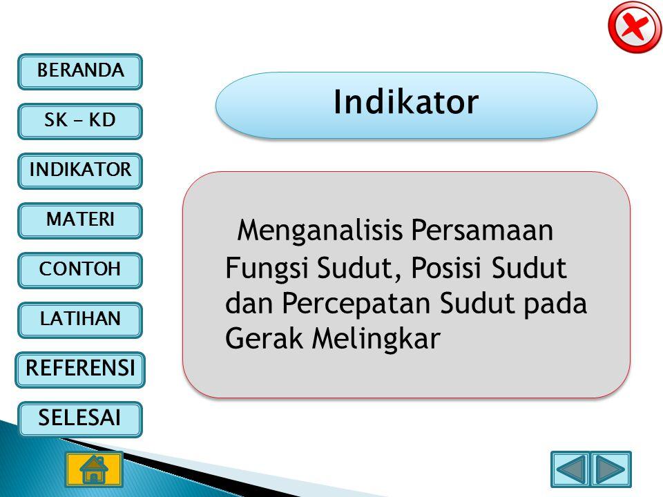 BERANDA SK - KD INDIKATOR MATERI CONTOH LATIHAN REFERENSI SELESAI Indikator Menganalisis Persamaan Fungsi Sudut, Posisi Sudut dan Percepatan Sudut pad