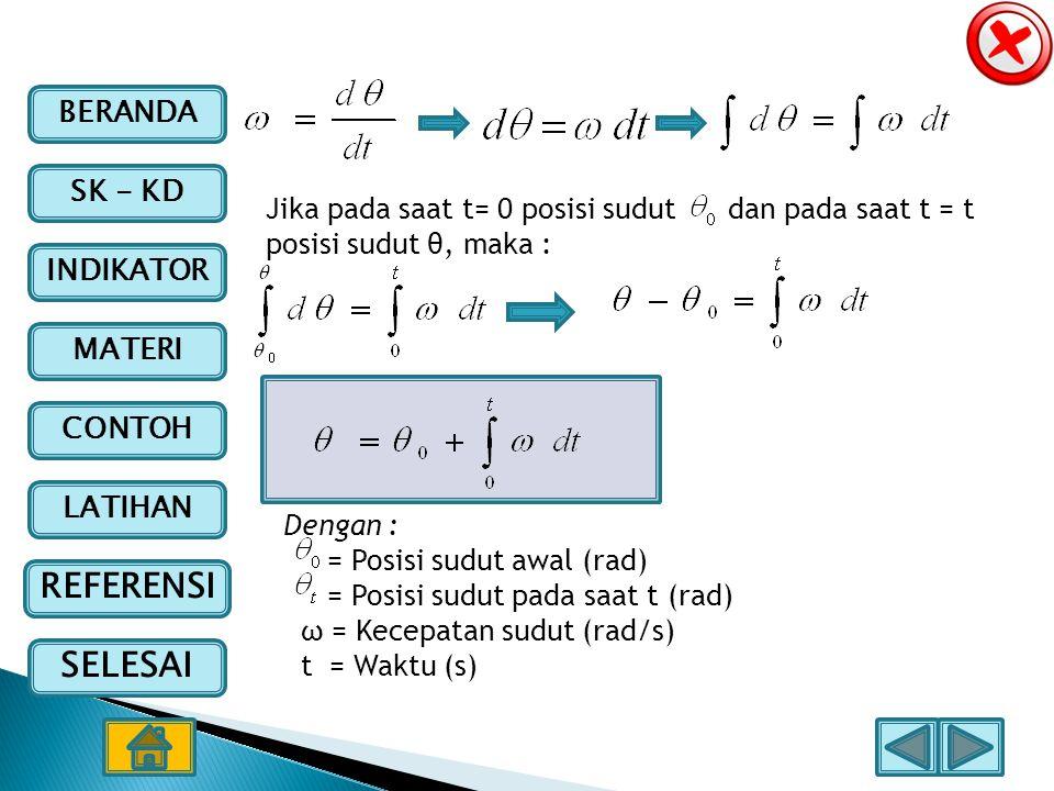 BERANDA SK - KD INDIKATOR MATERI CONTOH LATIHAN REFERENSI SELESAI Jika pada saat t= 0 posisi sudut dan pada saat t = t posisi sudut θ, maka : Dengan :
