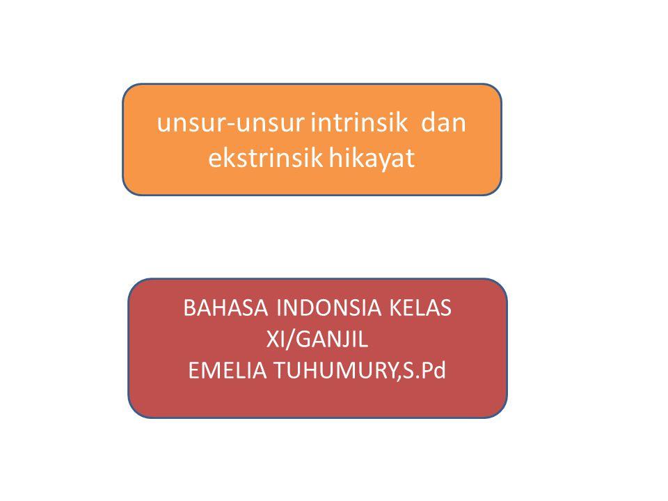 unsur-unsur intrinsik dan ekstrinsik hikayat BAHASA INDONSIA KELAS XI/GANJIL EMELIA TUHUMURY,S.Pd