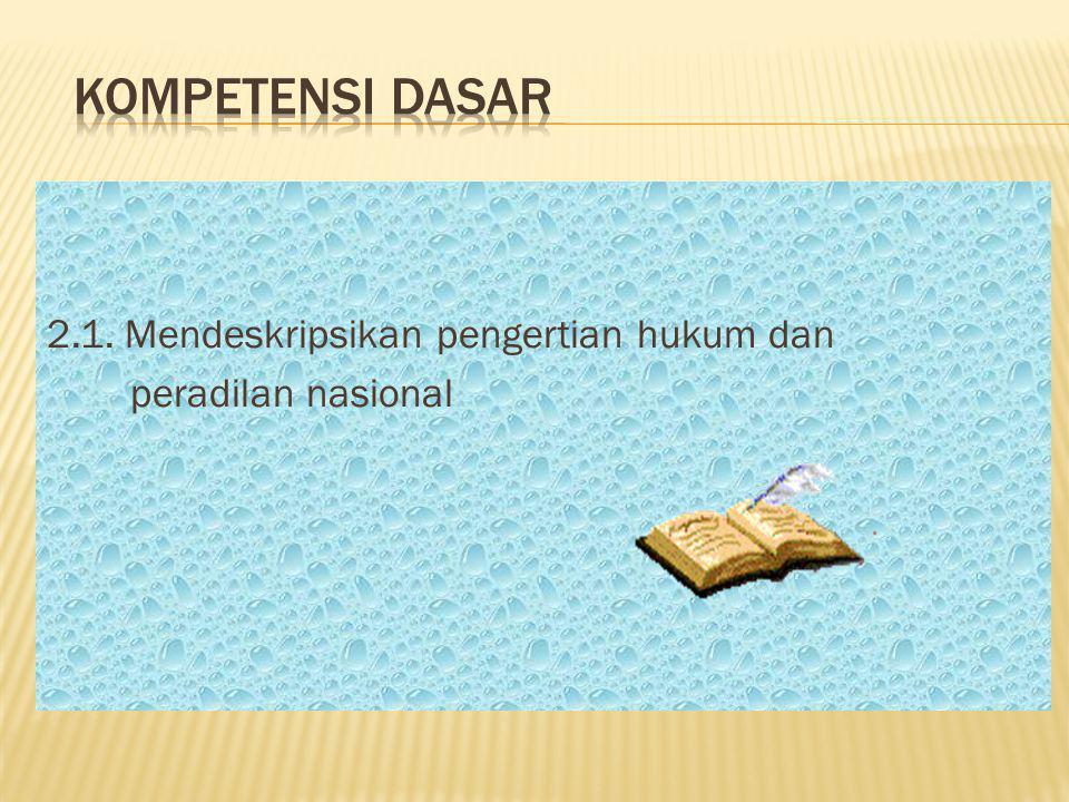 HOME 2.1. Mendeskripsikan pengertian hukum dan peradilan nasional