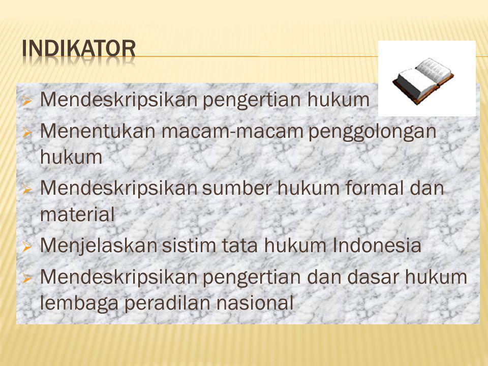 HOME  Mendeskripsikan pengertian hukum  Menentukan macam-macam penggolongan hukum  Mendeskripsikan sumber hukum formal dan material  Menjelaskan sistim tata hukum Indonesia  Mendeskripsikan pengertian dan dasar hukum lembaga peradilan nasional