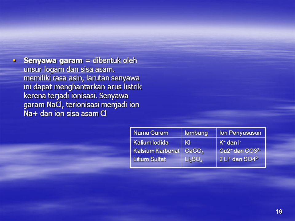 19  Senyawa garam = dibentuk oleh unsur logam dan sisa asam. memiliki rasa asin, larutan senyawa ini dapat menghantarkan arus listrik kerena terjadi
