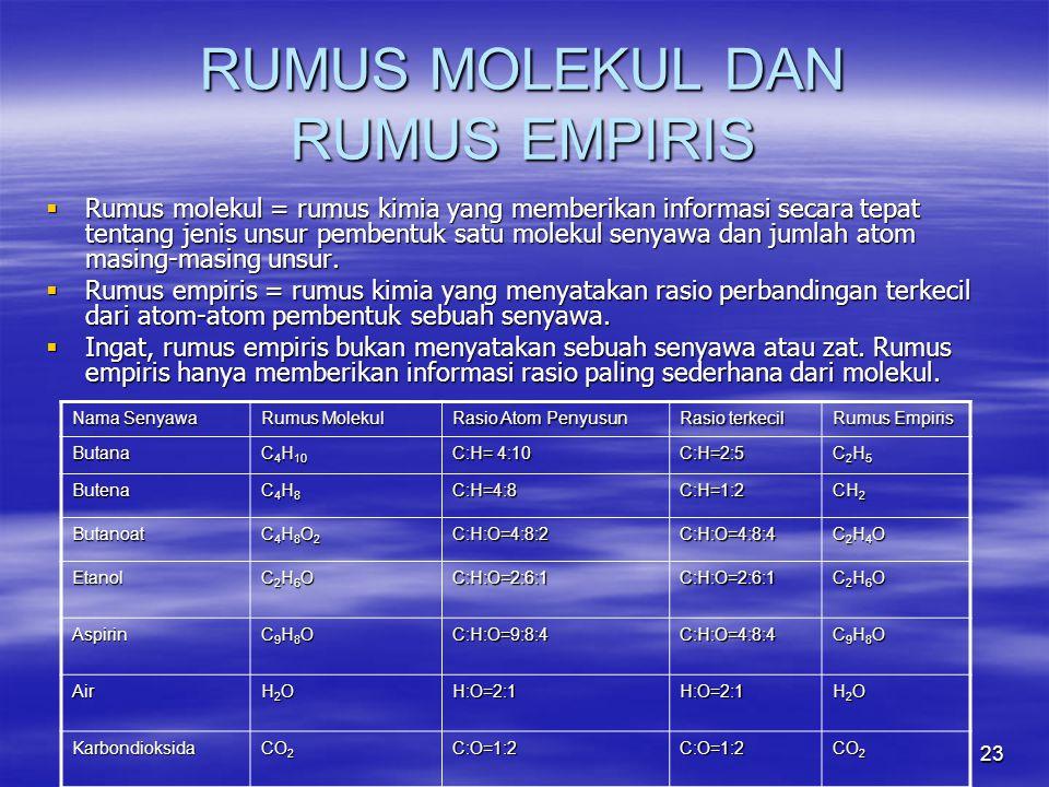 23 RUMUS MOLEKUL DAN RUMUS EMPIRIS  Rumus molekul = rumus kimia yang memberikan informasi secara tepat tentang jenis unsur pembentuk satu molekul sen