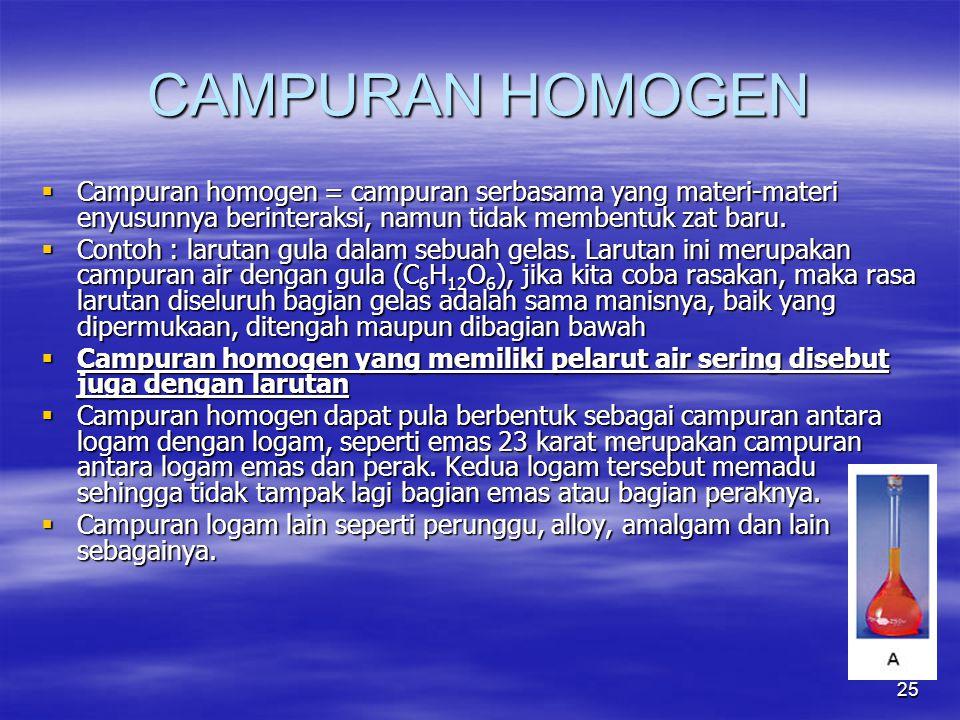 25 CAMPURAN HOMOGEN  Campuran homogen = campuran serbasama yang materi-materi enyusunnya berinteraksi, namun tidak membentuk zat baru.  Contoh : lar