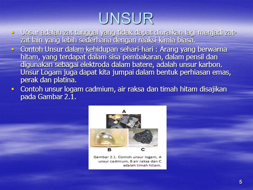 5 UNSUR  Unsur adalah zat tunggal yang tidak dapat diuraikan lagi menjadi zat- zat lain yang lebih sederhana dengan reaksi kimia biasa.  Contoh Unsu