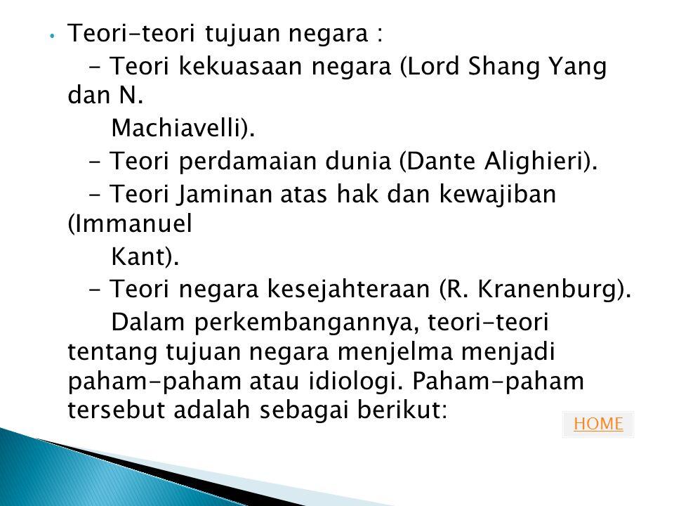 HOME Teori-teori tujuan negara : - Teori kekuasaan negara (Lord Shang Yang dan N. Machiavelli). - Teori perdamaian dunia (Dante Alighieri). - Teori Ja