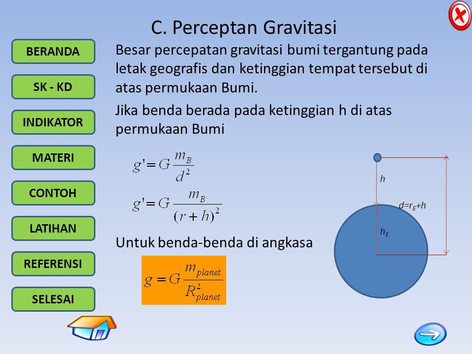 BERANDA SK - KD INDIKATOR MATERI CONTOH LATIHAN REFERENSI SELESAI C. Perceptan Gravitasi Besar percepatan gravitasi bumi tergantung pada letak geograf